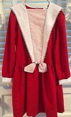 Vtg Polly Flinders Red Long Slv Dress Size 10 White Collar & Lace ~ For Holiday