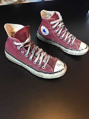 Vtg Converse Made In Usa Mens 6 Womens 8 High Top Burgundy 80s 90s Red