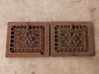 2 Victorian Cast Iron Heater Grates/vents With Dampers Great Condition 8X10 Open