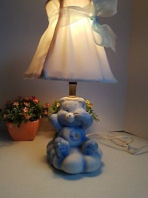Vintage Carebears Grumpy Care Bear Child's Lamp with Shade 1980s American Greeti
