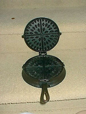 Rare Antique No Name Cast Iron Vintage Waffle Maker