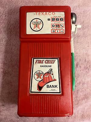 1960s TEXACO bank in RED plastic with green hose, never used or cut open, works!