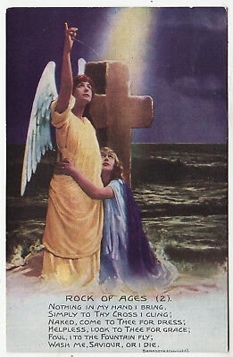 BAMFORTH SONG CARD #4866/2 - Rock Of Ages - Cleft For Me - c1910s era postcard