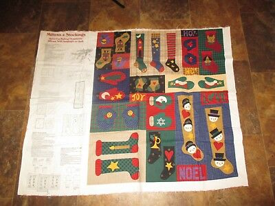 CHRISTMAS Vintage MITTENS & STOCKINGS ORNAMENTS PILLOWS Fabric PANEL - 1990's