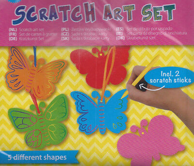 Scratch Art Set - 2 X 5 Schmetterlinge - 2 Scratch Sticks - Aufhänger - Neu!!!