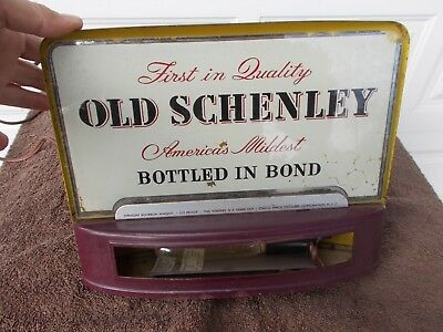1941 Old Schenley Vintage Lighted Advertising Bar Sign Glass Whiskey Stagg-Finch