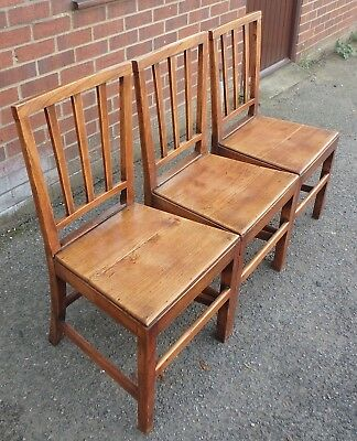 Set 3 George III antique solid elm farmhouse country dining kitchen chairs