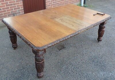 Huge Victorian antique solid carved oak extending kitchen dining table seat 16+