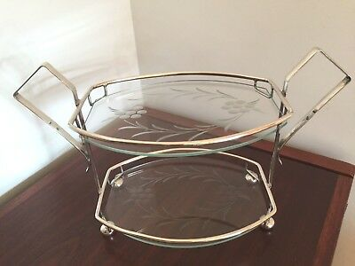Fine Art Deco 2 tier silver plate & etched glass cake stand C1930