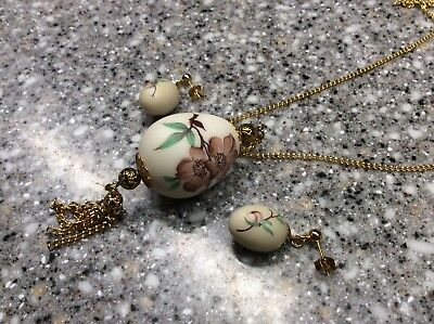 Vintage Hand Painted Bailey's Quail Egg Jewelry Nest Set Mobile ALA.