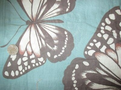 Vintage BROWN BEIGE PURPLE BUTTERFLIES On GREEN 1980's COTTON Fabric-over 3 yd