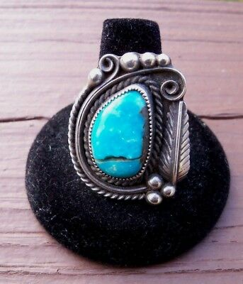 Vintage Men's Old Pawn Navajo Turquoise & Silver Ring Size 12 signed