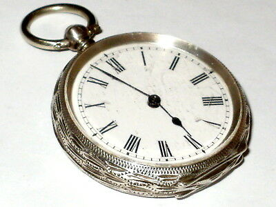 Antique Sterling Silver Swiss Pocket Watch, Excellent Time Keeper,fine Condition