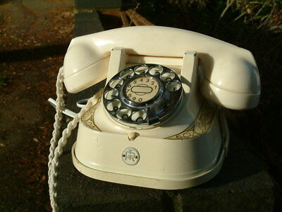 Vintage Belgium telephone - cream. With handle and wired for modern socket.