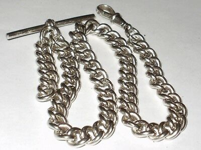 Antique Sterling Silver Albert Pocket Watch Curb Chain, Heavy -  47 Grams