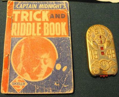 Captain Midnight's 1949 Decoder Plus Trick & Riddle Book Skelly Oil 1939