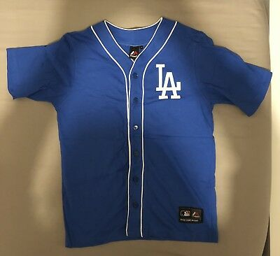 LA Los Angeles Dodgers Majestic Athletic Cotton Blue Jersey Size Small