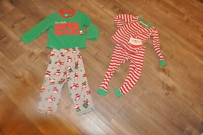Lot Of 2 Pair Pajamas 3T Carter's Christmas Holiday Red Green CUTE!