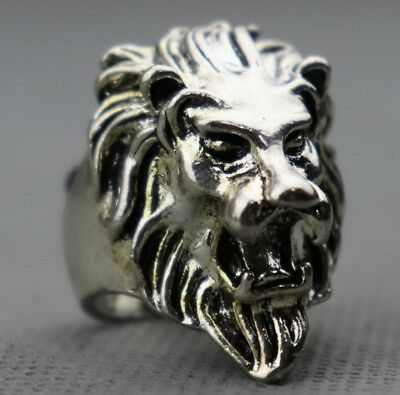 Collectable Chinese Old Tibet Silver Carve Roar Lion Exorcism Boy Decorate Ring
