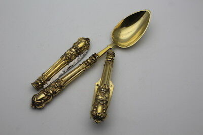 Antique French Solid Silver Gilt Travelling Set Mascarons