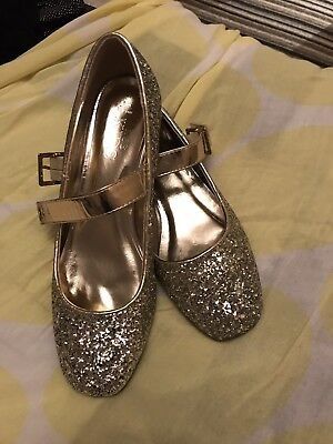 Girls Glittery Princess Party Shoes Size 6 39 Marks And Spencer Gold Shimmer
