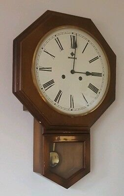 Vintage Schmeckenbecher Wall Clock, Large, Wooden Case, Pendulum, Chime *Key*