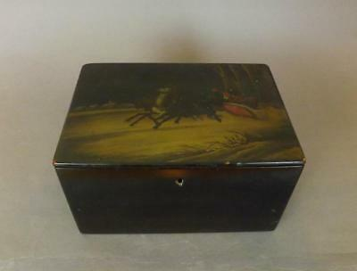 Antique Large Russian Lacquered Hand Painted Box By Vishniakov