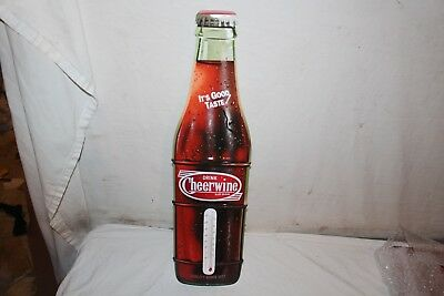 "Vintage Cheerwine Soda Pop Bottle 23"" Embossed Metal Thermometer Sign~Nice"