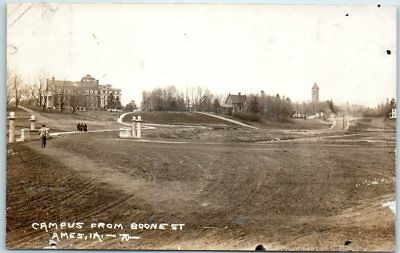 """Iowa State University RPPC Photo Postcard """"CAMPUS FROM BOONE ST. AMES IA"""" c1910s"""