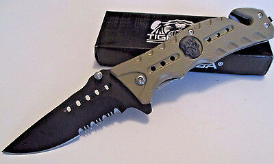 TIGER USA  TAN SKULL Tactical Spring Assisted Rescue Open Folding Pocket Knife