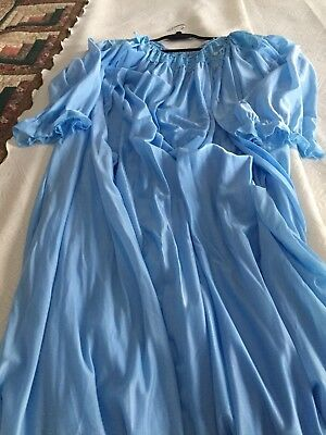 Vintage Blue Peignor Robe Gown Nightgown Super Soft GUC