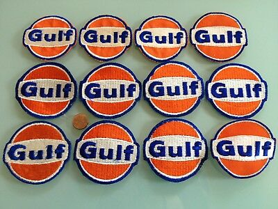 12 Vintage GULF oil / gas station PATCH LOT unused RARE sew on