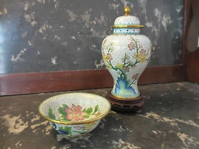 """Vintage chinese cloisonne 10"""" lidded urn with matching bowl set"""