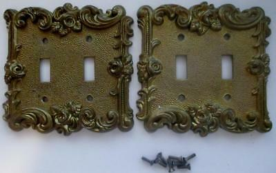 2 Vintage American Tack & Hardware Brass Double Light Switch Cover Plates #60TT