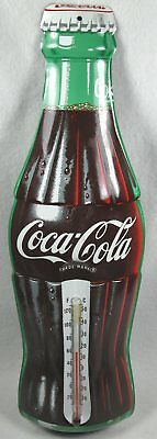 "Large Vintage Coca Cola Soda Pop Bottle 16 1/2"" Metal Tin Thermometer"