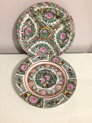 """Two Vintage Chinese Famille Rose Plates 8"""""""
