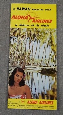 Vintage 1960's Hawaiian Aloha Airlines Vacation Tour Map Guide