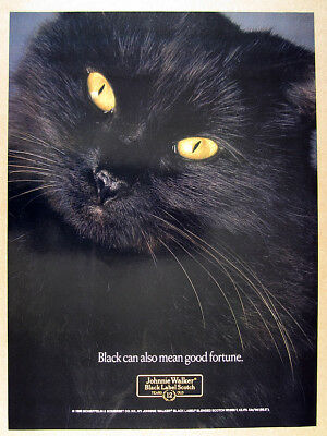1989 black cat photo Johnnie Walker Black Label Scotch vintage print Ad