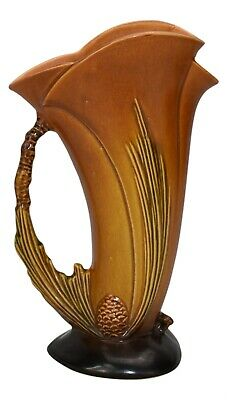 Roseville Pottery Pine Cone Brown Ewer 485-10