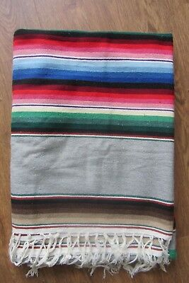 """Mexican Serape Colorful Striped Southwest Style  Blanket With Fringe, 64"""" X 88"""""""