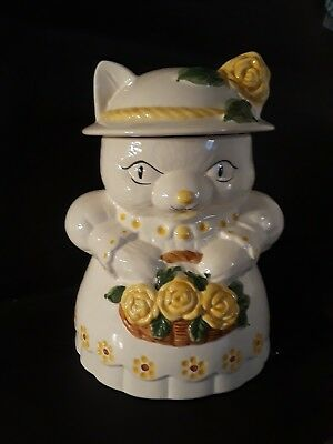 Cat in Hat With Basket of Flowers Vintage cookie jar made in Portugal