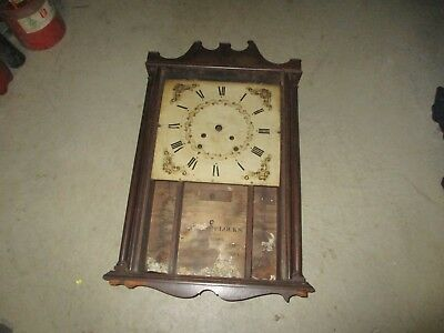 Antique Pillar And Scroll Clock Fragments Plus Wood Dial