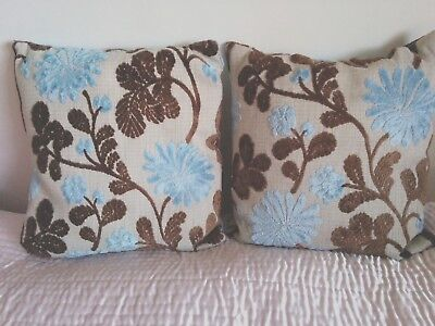 Vintage Cut Velvet Reversible Cushions x 2 (Complete) 15 ins square Blue/Brown