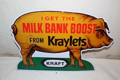 "Vintage 1960's Kraft Kraylets Pig Hog Feed Farm 17"" Embossed Metal Sign~Nice"