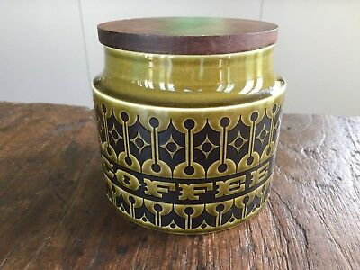 Vintage Retro Hornsea England Coffee Canister Green With Wooden Lid