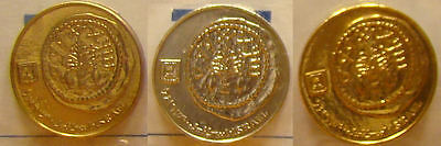 5 Agorot UNC SILVER 24K GOLD Plated Ancient Widows Mite on Israeli Coin LOT of 3