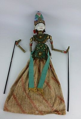 Antique Wayang Golek Stick Puppet Carved Wood Indonesian Shinta Wooden Hindu God