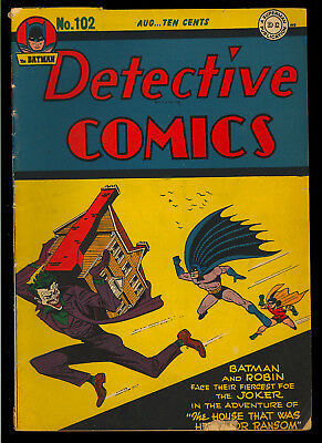 Detective Comics #102 Nice Early Joker Cover Original Owner Batman DC 1945 VG