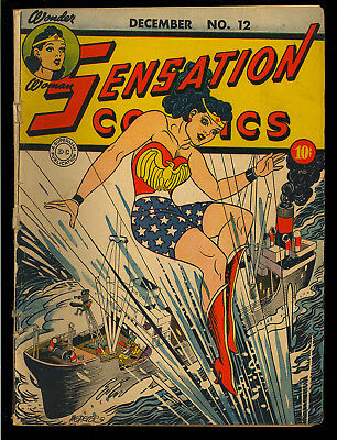Sensation Comics #12 Nice Original Owner Early Wonder Woman DC 1942 VG