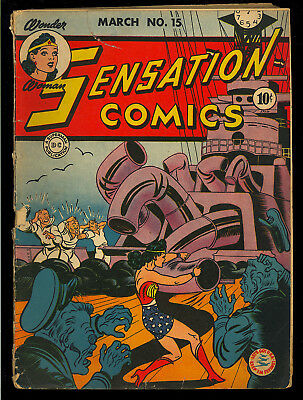 Sensation Comics #15 Unrestored Original Owner Early Wonder Woman DC 1943 GD